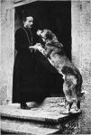 Swiss Priest with Saint Bernard Dog